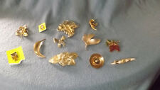 Lot of 12 Vintage Brooches Giovanni Goldtone Onyx Pearls Owl Leaves