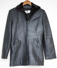 Givenchy Cuir Leather Jacket Soft Mink Collar Small Black Zip Up Cuff Coat