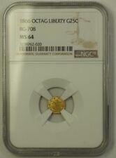 1866 Octagonal Liberty California Gold Quarter 25c Coin BG-708 NGC MS-64