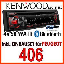 Peugeot 406 - Kenwood Bluetooth CD/MP3/USB Radio - Einbauset Radio 4x50WATT Auto