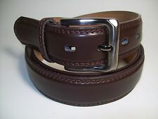 "Men New Dark Brown Leather Belt with Smoke Color Buckle M 34 - 36"" #9907"