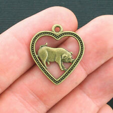 8 Pig Charms Antique Bronze Tone 2 Sided - BC1091