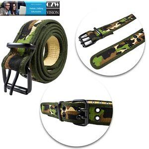 Unisex Web Belt 100% Cotton Canvas Adjustable Double Grommet Hole Military Jean