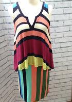 Maeve Anthropologie Stripe Hanker chief Hem Layered Dress Size Small UK 10