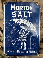 VINTAGE MORTON SALT PORCELAIN SIGN USA OIL GAS PUMP PETROLIANA ADVERTISING GIRL