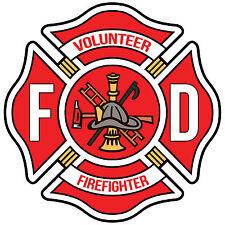 "4"" Volunteer Firefighter Red Maltese Cross Decal"