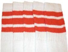"22"" KNEE HIGH WHITE tube socks with ORANGE stripes style 1 (22-37)"