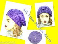 Hand-knit Women Girls Trendy Purple Sexy Beret Casual Winter Ski Hat (U.S Ship)