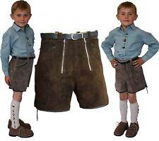 kurze sportliche Lederhose Kinder Shorts + 2 RV braun