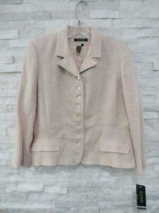NWT Ralph Lauren LRL $250 Light Pink Linen Button Front Peplum Jacket Blazer 16