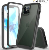 For iPhone 12 Pro Max 12 mini Full-Body Clear Rugged Case With Screen Protector