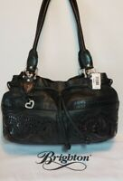 BRIGHTON LOLITA~MASTERPIECE COL BLACK W/ BWN ACCENTS PURSE SHOULDER HANDBAG $350