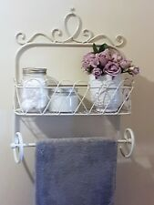 SHABBY CHIC METAL WALL SHELF UNIT STORAGE RACK TOWEL RAIL BATHROOM KITCHEN