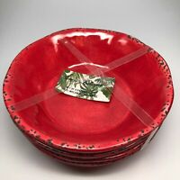 Tommy Bahama Melamine 4 Bowl Set Red Crackle, Tuscan Rustic for Cereal, Soup