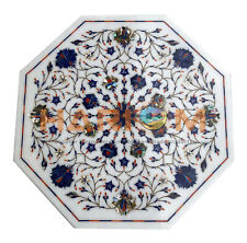 """18"""" Marble Top Coffee Table Lapis Paua Shell Floral Inlay Occasional Decors W446"""
