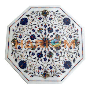 "18"" White Marble Top Side Table Lapis Paua Shell Floral Mosaic Inlay Gifts W446"