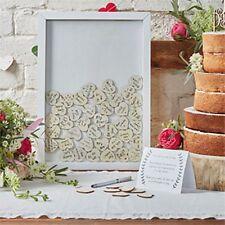 Boho Da Matrimonio cornice in legno Libro degli ospiti con cuori 70