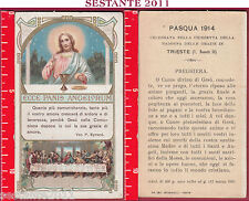 1977 SANTINO HOLY CARD ECCE PANIS ANGELORUM PASQUA 1914 TRIESTE ARTIGIANELLI