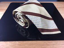 "Men's Christian Dior Beige Brown Striped Blue Polka Dot 4.25"" Wide Silk Tie Rare"