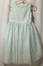 Special Marmellata Girls Party Dress Size 5 Green white dot tulle (2-241aA