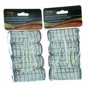 Hair Styling Brush Rollers and Pins Hair Curlers 2 Pack 8 Rollers Bristles Curls