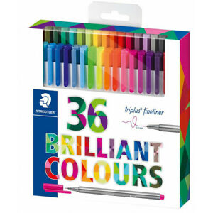 Pack of 36 Staedtler Brilliant Colours Triplus Fineliner 0.3mm Pens (334C36)