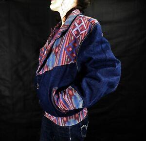 1980s Dark Indigo Denim Jacket with Contrasting Navajo Design by Pello Size XL