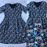 Tenki Tiger Print Fit & Flare Dress 3/4 slevves UK 10 E1