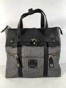 Henri Bendel New York Gray Canvas Women's Large Zipper Tote Shoulder Bag