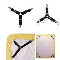 4x Triangle Bed Sheet Mattress Holder Fastener Grippers Clips Suspender Straps