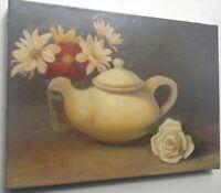Tableau Belle Composition Théière Bouquet Marguerites Rose Huile toile signé