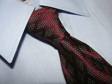 CHANEL Men's 100% Silk Burgundy Geometric Luxury Necktie