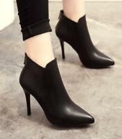 Sexy Women Pointed Toe Ankle Boots Zip Back High Stilettos Heels party Shoes New