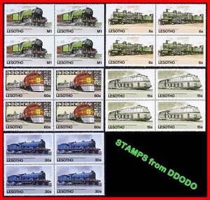 Lesotho (Afrique) 1984 Trains Blocs De 4 Sc#453-7 MNH Chemins de Fer, Transport