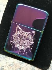 CAT mandala LIGHTER spectrum / rainbow finish design logo tribal engraved animal