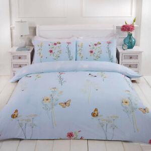Butterfly & Floral Reversible Duvet Quilt Cover Bedding Set + Pillowcases