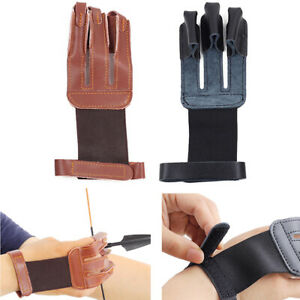 Archery 3 Finger Glove Arm Guard Leather Protector Gear for Recurve Bow Hunting