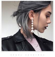 Fashion  Women's Big Pearl Long Tassel Dangle Earrings Crystal Stud Drop Jewelry