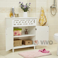 Cupboard Cabinet Sideboard White Wooden 2 Doors Furniture Freestanding Wardrobe