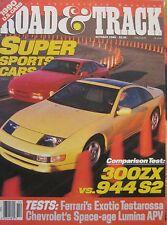 Road & Track 10/1989 featuring Ferrari Testarossa, Nissan, Porsche, Pagaso
