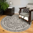 Traditional Grey Medallion Rug Small Large Distresssed Living Room Rugs Circles