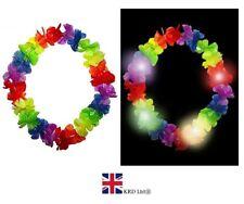 LIGHT UP HAWAIIAN LEI HULA NECKLACE Flower LED Garland Beach Party Costume UK