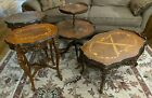Set of 4 Antique French Provincial Carved & Inlaid Tables-Coffee-2 Side-Tiered