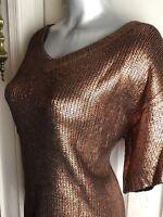 BEAUTIFUL NICOLE MILLER Size S- Women's Sweater S/S Copper Metallic Shimmery