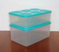 Tupperware Clear Mates 2pc Square Set Stackable Store Organize Teal Seals NEW