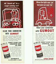 TWO (2) vtf. 1950's  GUMOUT automotive carburetor cleaner Cleveland OH print ads