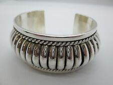 NAVAJO INDIAN PA Priscilla Apache - Sterling Silver Wide Cuff Bangle Bracelet