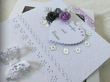 Handmade Personalised Boxed Card Wedding Engagement Anniversary Silver Wedding