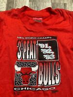 Vintage Chicago Bulls 3-Peat NBA Champions Red Toddler Kids T-Shirt Size S 90's