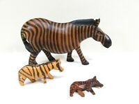 Wooden Carved Zebras Wood Figurine Set of 3 Mixed